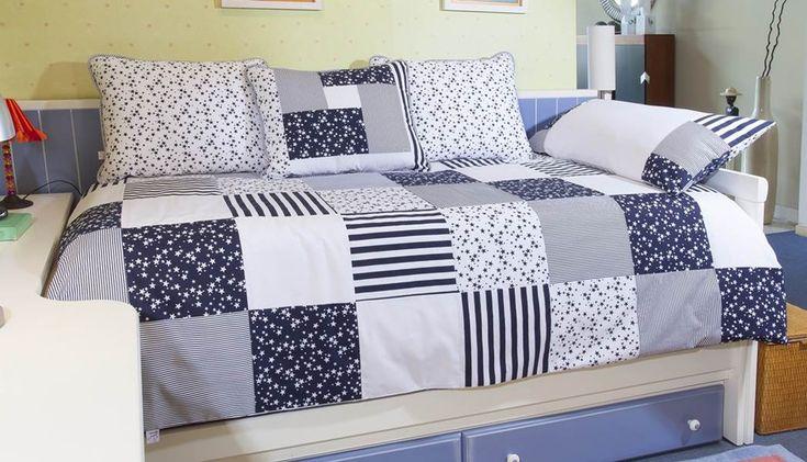 ropa cama juvenil azul