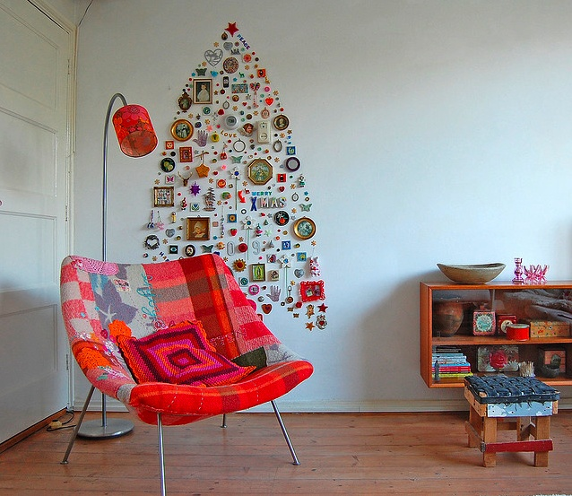 Jane Schouten's ornament tree: Holiday, Decor, Xmas Trees, Christmas Tree Ideas, Chairs, Diy Christmas Trees, Christmas Trees Ideas, Modern Christmas, Small Spaces