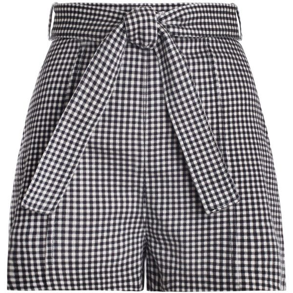 ZIMMERMANN Paradiso Gingham Drill Shorts (735 BRL) ❤ liked on Polyvore featuring shorts, bottoms, pants, short, high waisted short shorts, tie belt, checkerboard shorts, short swim shorts and high rise shorts