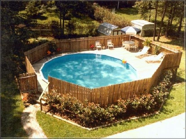 Above ground pool privacy decks building deck around for Above ground pool privacy ideas