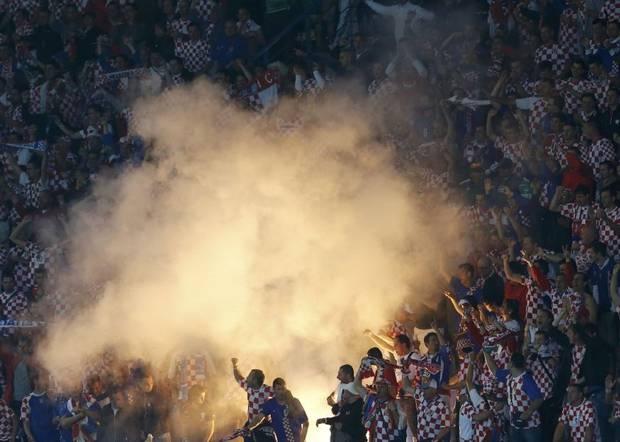 Croatia fans set off flares to celebrate a goal versus Italy. #Euro2012 #Croatia