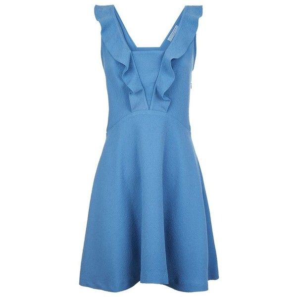 Sandro Helen Ruffle Dress (14.205 RUB) ❤ liked on Polyvore featuring dresses, fit and flare dress, blue ruffle dress, ruffle dress, day party dresses and night out dresses