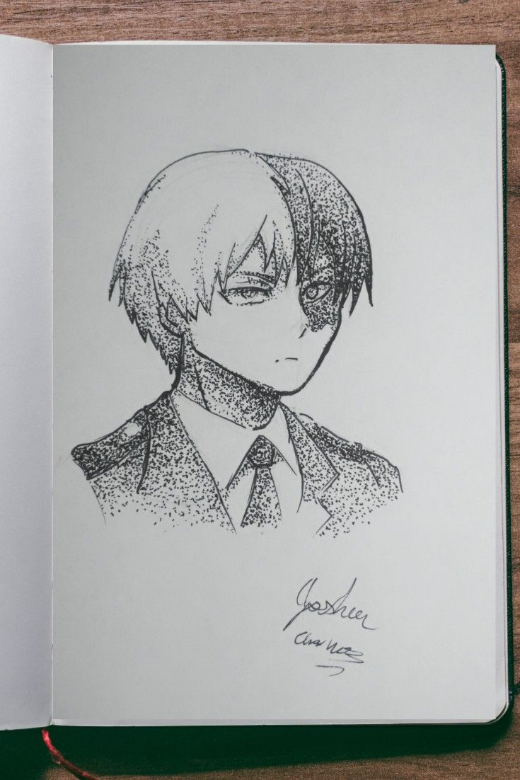 How To Draw Shoto Tordoroki My Hero Academia With A Dot Technique