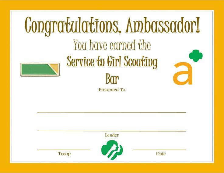 Ambassador Perfect Attendance Certificate Girl Scouts - blank certificate of attendance