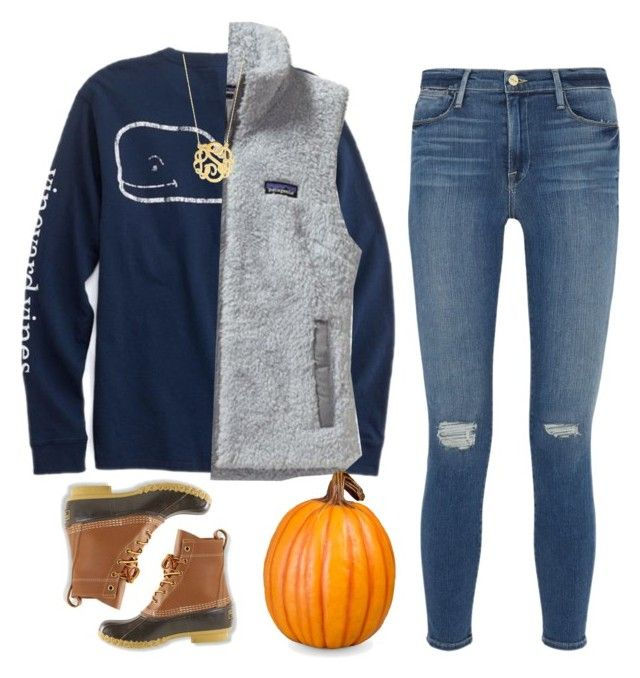 """""""Happy October🎃 Got Bean Boots Today:)"""" by haileymartin12 ❤ liked on Polyvore featuring Patagonia, BaubleBar, Frame Denim, L.L.Bean and Improvements"""