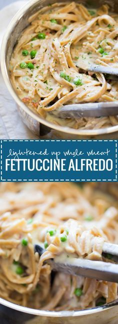 Lightened Up Whole Wheat Fettuccine Alfredo - a healthy alternative that's made with a cauliflower sauce and whole wheat noodles. 350 calories!