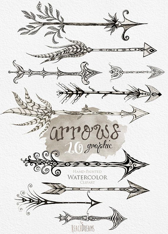 Arrows clipart. Hand Drawn Clip Art Tribal Arrows Instant Download PNG. Graphic arrow. Wedding invitation, Greeting card, DIY elements by ReachDreams