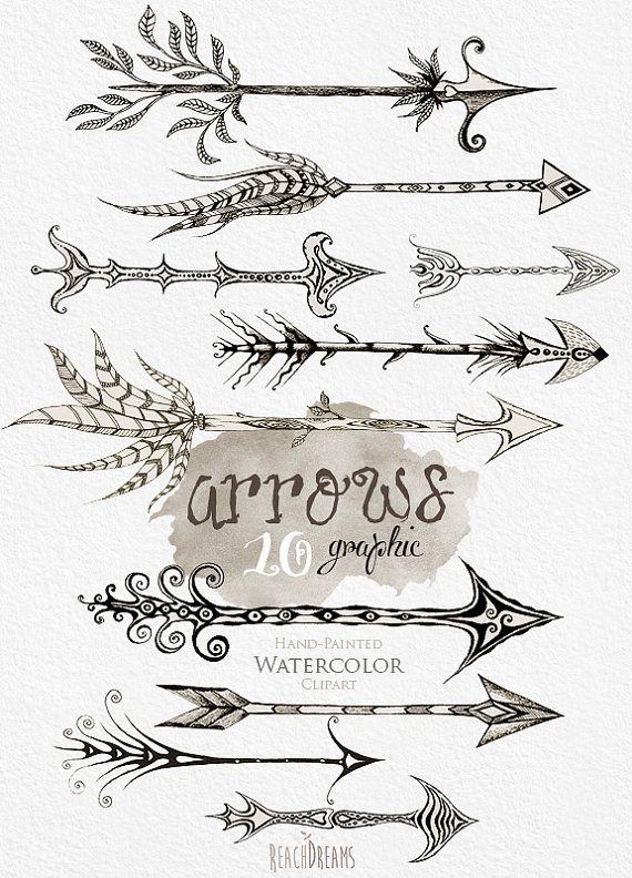 Gráfico de flechas. Dibujado a mano Clip arte Tribal flechas instantánea descargar PNG. Gráfico con la flecha. Invitación de la boda, tarjeta de felicitación, elementos de bricolaje por ReachDreams