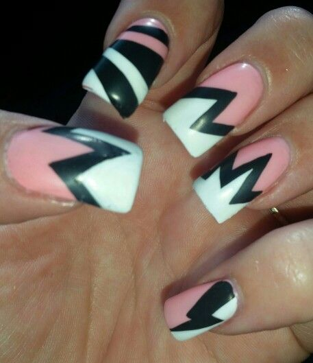 Pink and white matte. Comic book. Graphic hand painted. inspired Nail art design 3D gel square flare acrylic.