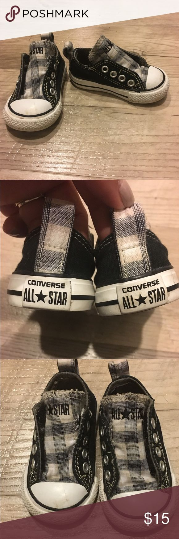 Converse slip ons with velcro Black and white infant size 3 converse slip ons. Side velcro for easy slip on. Worn a few times. Converse Shoes Sneakers