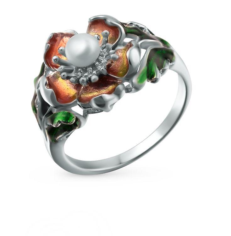 Серебряное кольцо с эмалью и жемчугом SUNLIGHT: белое серебро 925 пробы, жемчуг, эмаль — купить в интернет-магазине Санлайт, фото, артикул 42741