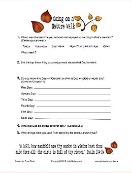 """Fall Nature Walk Ladies Meeting Idea.  There's a """"Going on a Nature Walk"""" Devotional and a few handouts to go with it."""