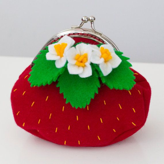 Strawberry coin purse from Babes in the Woods. Available to buy on Etsy.com
