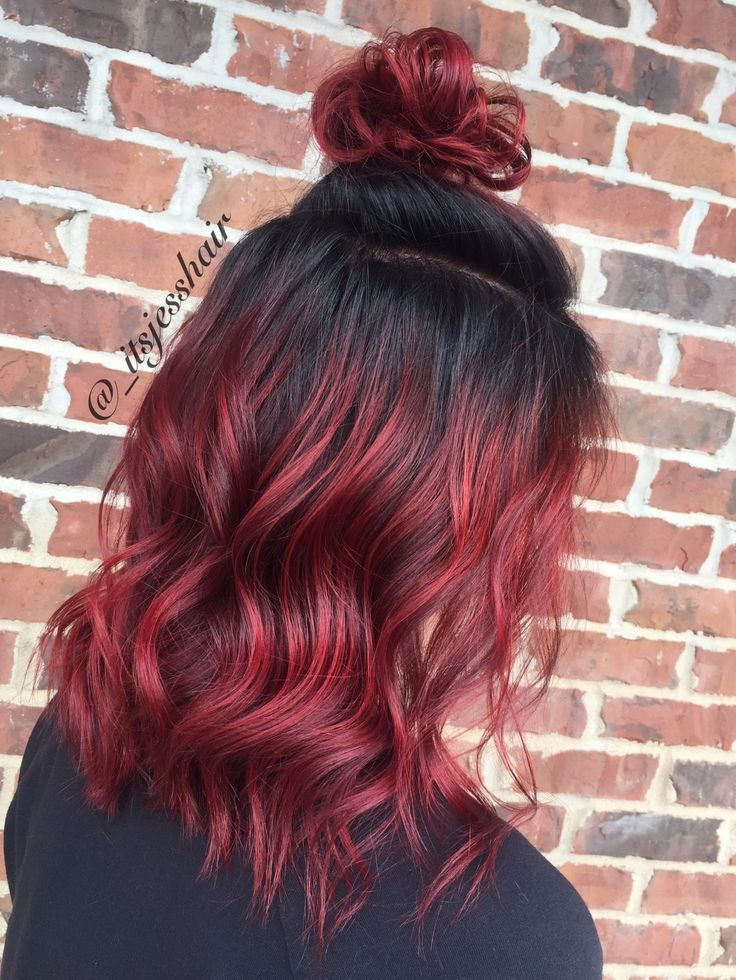 Image Result For Black To Red Ombre Medium Hair In 2019