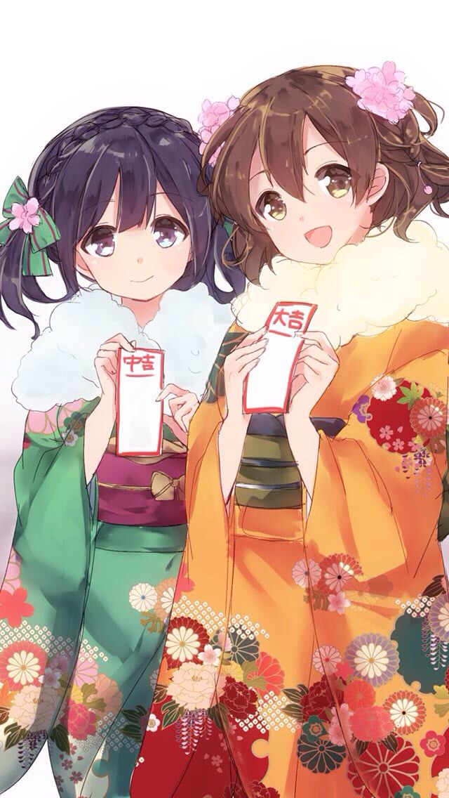 Wallpaper : illustration, flowers, nekomimi, anime girls ... |Traditional Kimono Anime