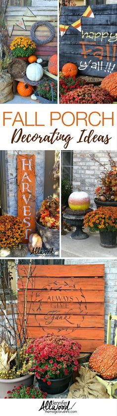 Fall porch decorations and fall decor ideas by Jennifer Allwood of the MagicBrushinc. Highlight your front porch for fall using painted fall pallets, fall signs, pumpkins, mums and more! Use this as inspiration for your own fall decor.