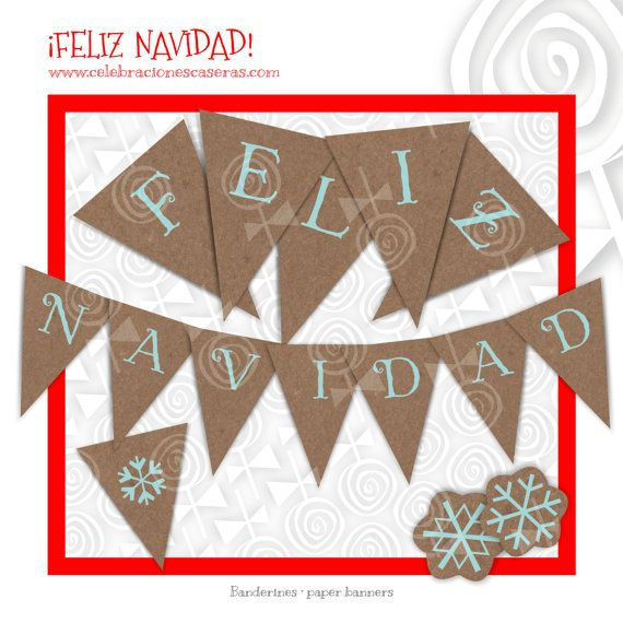 Guirnalda Feliz Navidad-Banderines-Archivo por CelebracionesCaseras