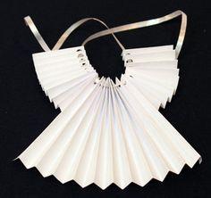 Accordian Folded Paper Angel Ornament Step 9 thread ribbon through holes