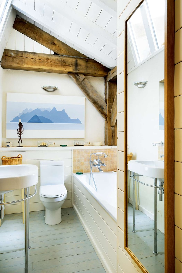 Lovely bathroom in new oak frame house in Scotland by Roderick James Architects