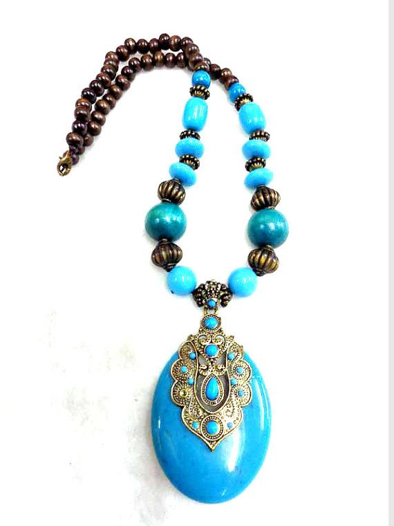 turquoise tibetan Necklace/Amber Necklace/Bohemian Necklace/Chunky Necklace/Statement Necklace /Beaded Necklace - Beaded Jewelry