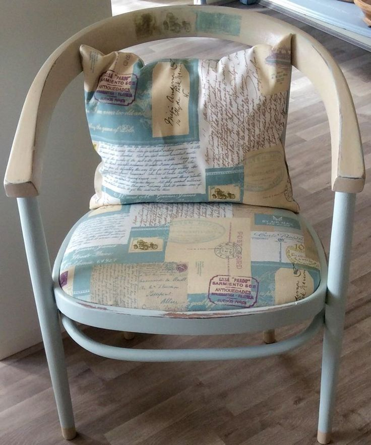 """Duck egg & cream painted accent chair with """"correspondence"""" fabric https://www.facebook.com/CraftedMerchant"""