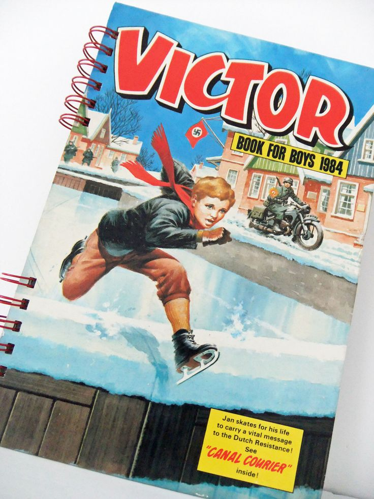 Handmade Journal, up-cycled Victor Book for Boys 1984, Comic Book Journal, Unlined Notebook, Travel journal, Sketchbook, Blank Journal by PeonyandThistle on Etsy https://www.etsy.com/listing/87909338/handmade-journal-up-cycled-victor-book