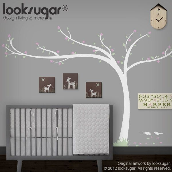 0071- Cherry Blossom Tree Decal - Modern Nature Home / Office Decal - Children Wall Stickers - Nursery Wall Decal - Children Wall Decal. $98.00, via Etsy.