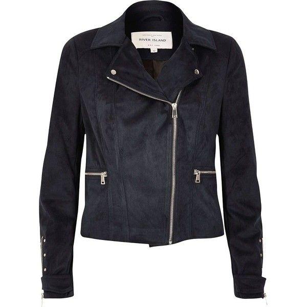 River Island Navy faux suede biker jacket ($120) via Polyvore featuring outerwear, jackets, biker jackets, coats / jackets, navy, women, river island jacket, motorcycle jacket, faux suede moto jacket and navy jacket
