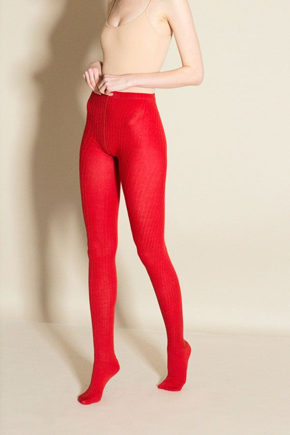 Hansel from Basel - Red Rib Wool Tights | BONA DRAG