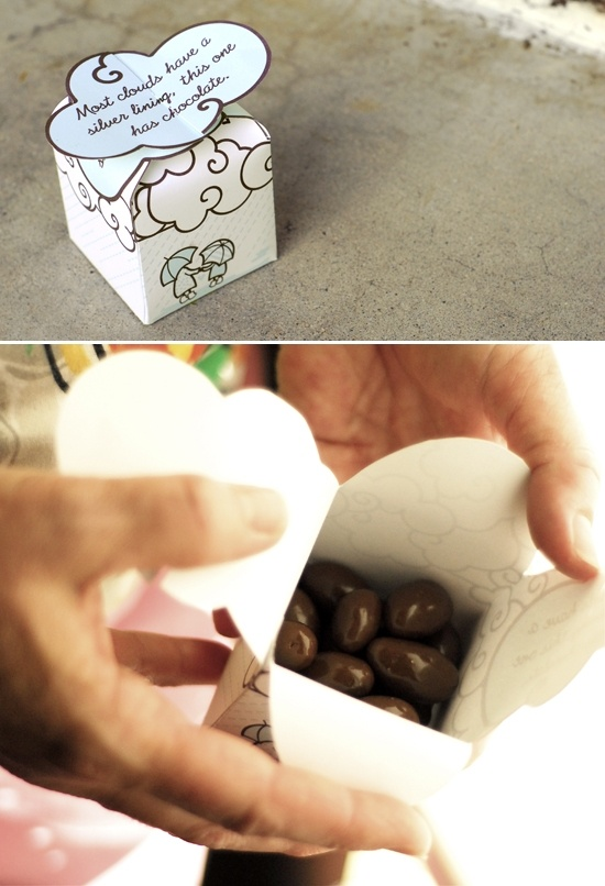 """Printable box template -- Cute idea! """"Most clouds have a silver lining, this one has chocolate"""""""