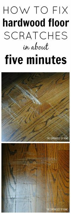 Hardwood floors are beautiful, but if they get scratched??? Yikes. Don't worry about it here is and easy and quick way to fix those scratches. #hardwood #scratches #floors
