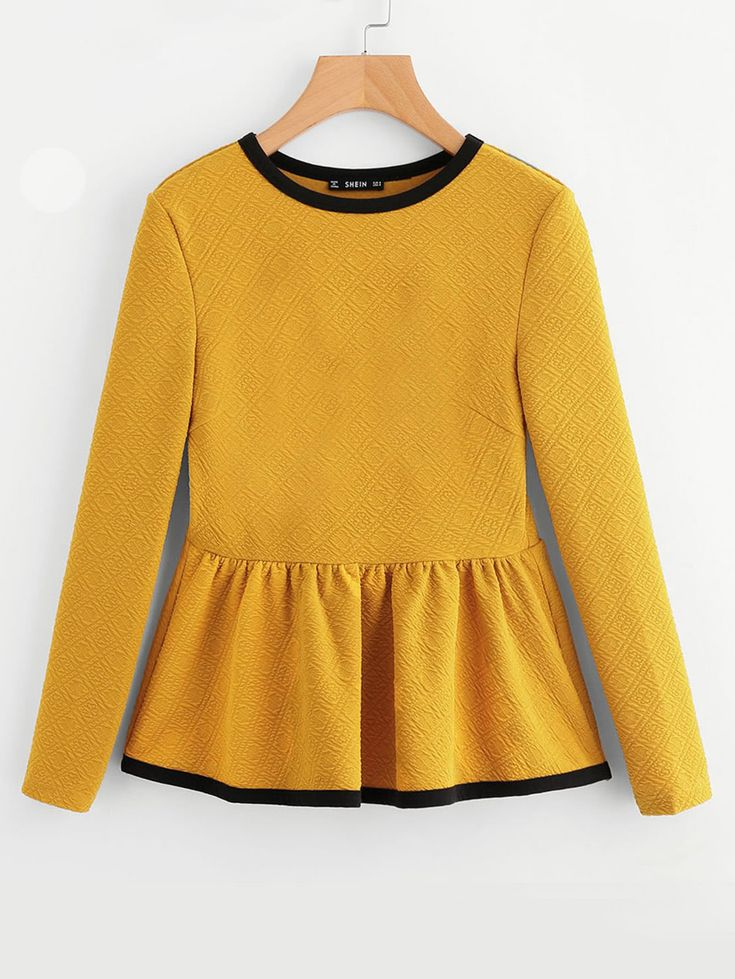 Shop Contrast Binding Textured Peplum Top online. SheIn offers Contrast Binding Textured Peplum Top & more to fit your fashionable needs.