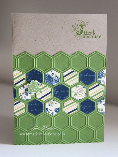 www.madexcreation... hexagon punch.  (Would be nice though wouldn't it.  Let's put that on our wish lists.)  But no problem -  it is easy to make them.  Just pop the patterned paper through the Big Shot with the embossing folder, then follow the lines to snip the hexagons.  A good 'in front of the TV' type of job.  The slow part of this card is arranging and rearranging the hexagons.