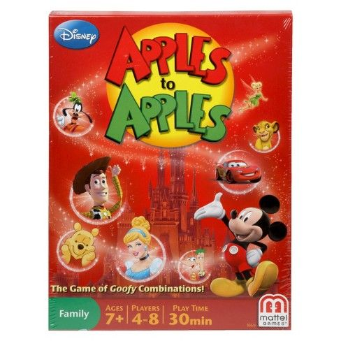"""It's the fast-moving card and party game that provides instant fun for four to eight players! It's as easy as """"comparing apples to apples""""- just deal the cards and you're ready to play! And now, Red Apple cards come to life with pictures from Disney theme parks, movies, and Disney Channel shows. Watch out for the Poison Apple card! It's available only in this Disney Apples to Apples, and it will turn the game upside down! Game comes complete with 360 cards. For ages ..."""