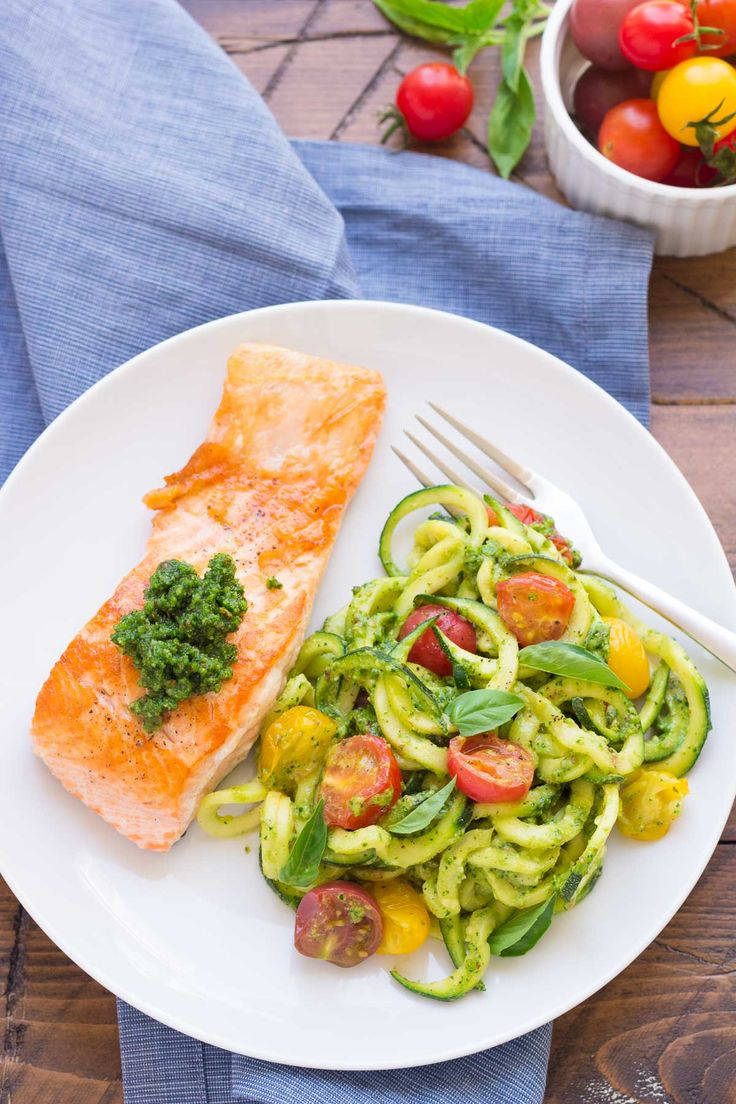 This simple and healthy Kale Pesto Zucchini Noodles and Salmon dinner is ready in just 30 minutes!