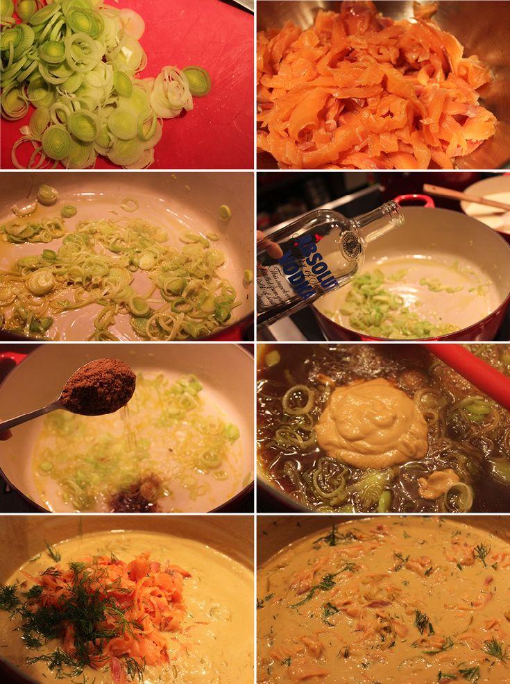 Receita de massa ao molho de salmão marinado na vodca, com açúcar mascavo e alho poró   Rango do Dia - Receitas diárias