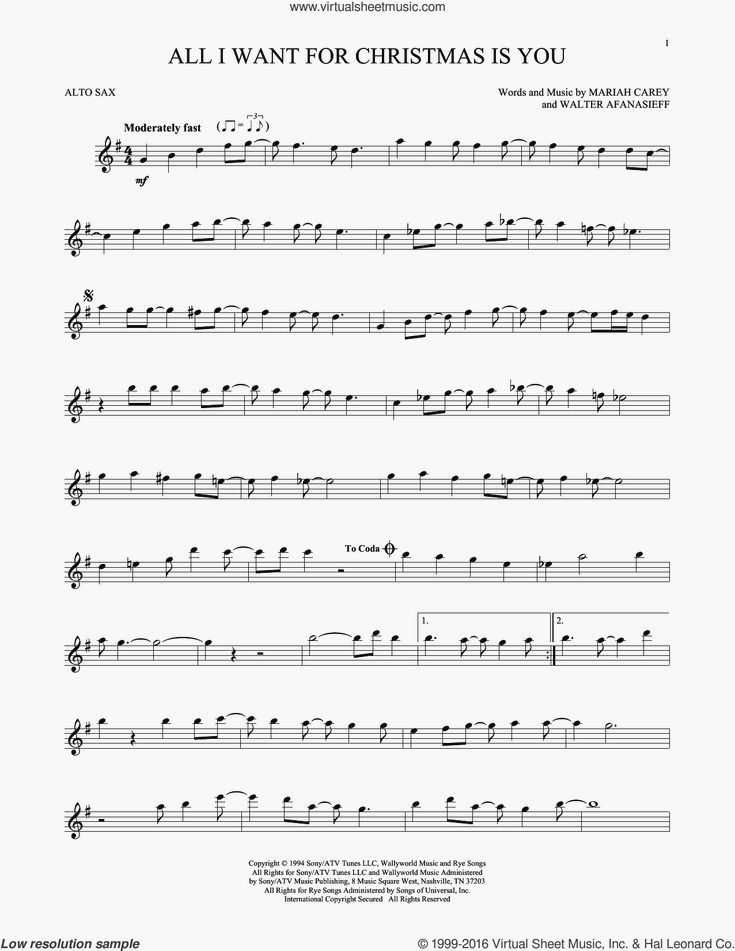 Carey All I Want For Christmas Is You Sheet Music For Alto Saxophone Solo V2 Clarinet Sheet Music Saxophone Sheet Music Cello Sheet Music