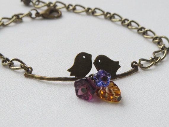 Lovebirds  Brass Gold Charm Bracelet  Flowers and Leaf by Thielen, $15.95