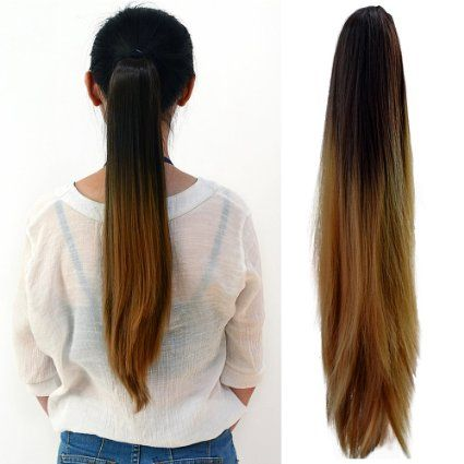 Neverland Ladies Women Clip-In Hair #Extension Two Tone Ponytail Dip Dye #Ombre Synthetic #Hair #Black #Light #Brown