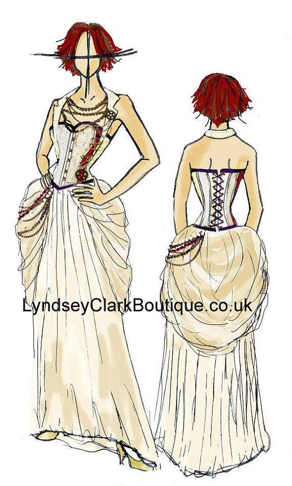 Steampunk fashion sketch dress