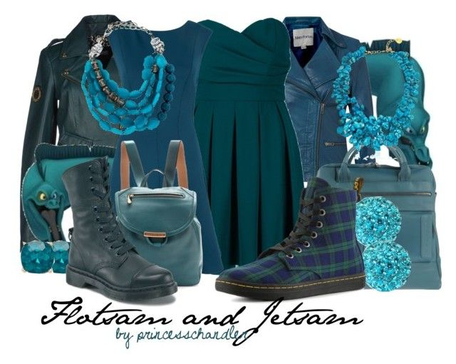 """""""Flotsam and Jetsam"""" by princesschandler ❤ liked on Polyvore featuring Flotsam & Jetsam, Mary Portas, TFNC, Just Cavalli, Almari, Piquadro, Bridge Jewelry, Marc by Marc Jacobs, Dr. Martens and Forever New"""