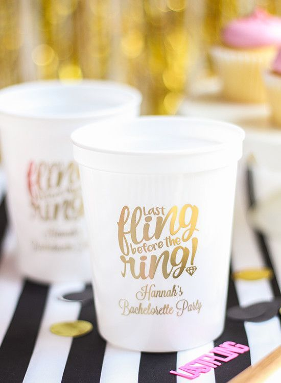 Last Fling Bachelorette Party | Personalized stadium cups are perfect for a fun bachelorette party!