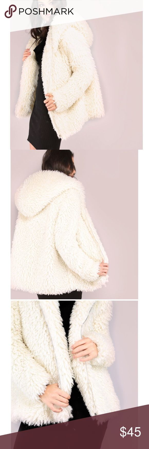 Faux fur hoodie Fluffy faux fur zip front hoodie. Brand new, never worn! Jackets & Coats