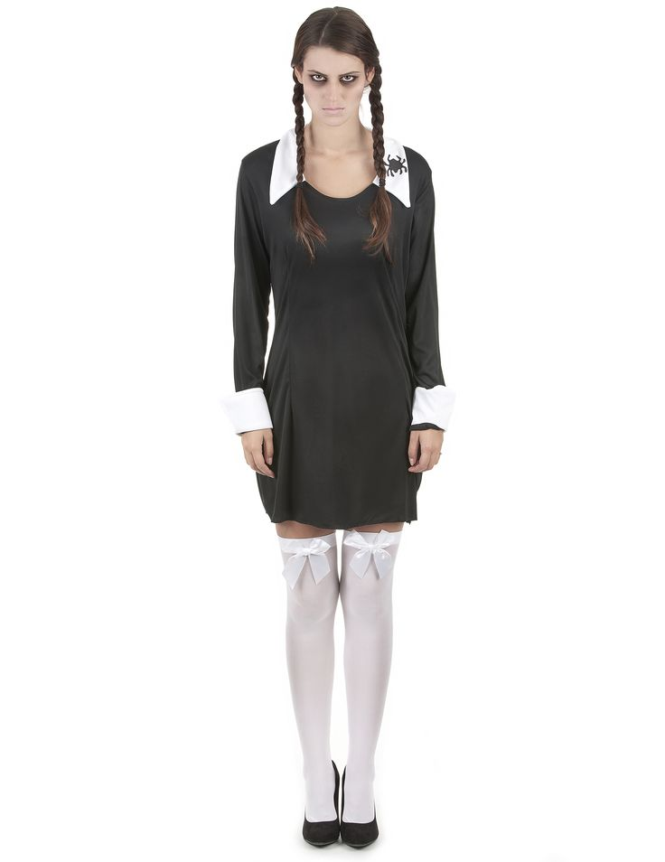 Déguisement écolière femme Halloween : Ce déguisement d'écolière pour femme se compose d'une robe (perruque, bas et chaussures non inclus). La robe courte est noire, avec le col et les poignets blancs.Une...
