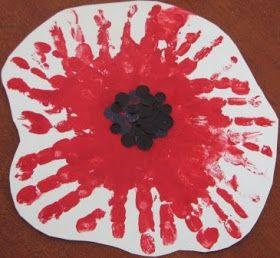 House of Baby Piranha: Anzac Day - Handprint Poppy Flower