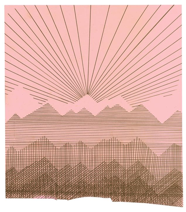 .: Line Drawings, Liam Steven, Schools Ideas, Drawings Mountain, Line Patterns, Sunri Drawings, String Art, Drawings Of Mountain, Mountain Drawings