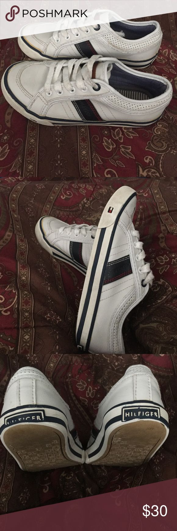 Little kids Tommy Hilfiger unisex sneakers. Sz 13 Cute little white sneakers with navy blue trimming and red stitching. Size 13 for girls or boys. They are unisex. Tommy Hilfiger Shoes Sneakers