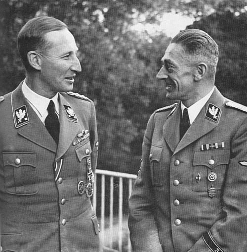 Heydrich and his Gestapo chief, Karl Hermann Frank - This Day in History: Apr 26, 1933: The Gestapo, the official secret police force of Nazi Germany, is established. http://dingeengoete.blogspot.com/