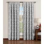 Window Elements Semi-Opaque Valencia Printed Cotton Extra Wide 96 in. L Rod Pocket Curtain Panel Pair, Grey (Set of 2), Gray