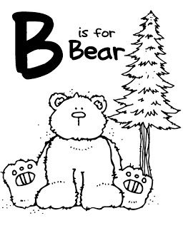 B is for Bear: coloring pages for whole alphabet